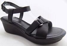 EASY SPIRIT Anti Gravity Black Leather Open Toe Platform Wedge Sandal 7.5M NEW