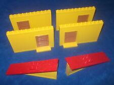 Lego Duplo Puppenhaus 4 X HAUS WAND SCHIEBETÜR 2 X DACHTEIL GELB Rot Alt 2760