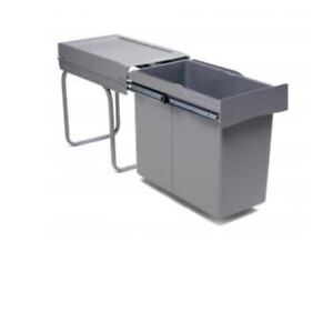 Pull-out waste bin, 40L, plastic, light grey with dark grey lid - 294-gy