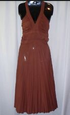 MAX & CLEO Womans Sz S Brown Mid Calf Halter Style Party Dress Gown NEW $109.00