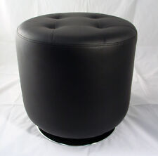 "Black Polyurethane Vinyl Round Swivel Tufted Ottoman 18"" Diameter Chrome Base"