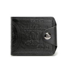 Men's Synthetic Leather Wallet Bifold Billfold For Cash & Bank Cards M002 Black
