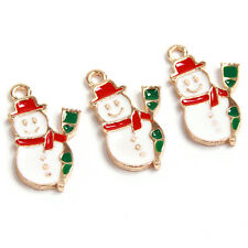 10Pcs Christmas Gifts Green&Red&White Enamel Gold Plated Snowman Alloy Pendant