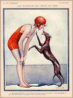 1920s La Vie Parisienne Greyhound Dog French France Travel Advertisement Poster