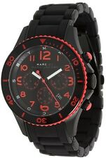 MARC JACOBS BLACK,RED ROCK SILICONE WRAPPED BLACK IP STEEL CHRONO WATCH-MBM2585