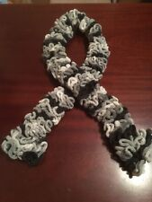 Ruffle Scarf, Faux Fur, Black And 3 Shares Of Grey, Handmade Made 1 Of A Kind