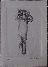 Fred ZELLER - Gravure etching signée numérotée datée 1983 bébé baby Bergerac