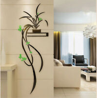 Green Orchid Flower 3D Acrylic Wall Sticker Self-adhesion Home Decor Living Room