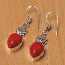 925 Silver Overlay Earrings Jewellery - Coral - 25mm Height - EAR-A202