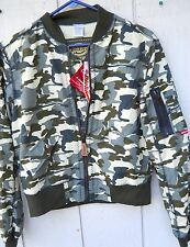 NEW WOMEN'S CAMOUFLAGE GREEN DICKIES FLIGHT TYPE JACKET SIZE LARGE  100% POLYEST