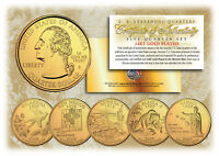 2008 US Statehood Quarters 24K GOLD PLATED ** 5-Coin Complete Set ** w/Capsules