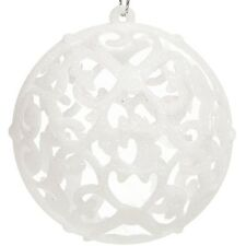 6 Big Christmas White Glitter Baubles Balls Xmas Tree Decoration Home Ornaments
