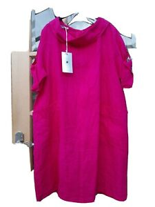 FANTASY COLLECTION  FUSCHIA PINK  LINEN TUNIC BARDOT NEC BUTTON BACK -OSPLUS -BN
