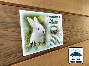 Personalised pet Rabbit memorial plaque, Bench plaque, Grave marker plaque.