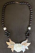 Lee Sands Necklace Floral Pink & White Mosaic Inlaid Mother of Pearl Necklace