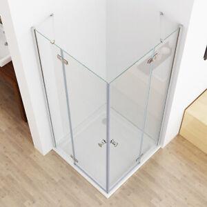 MIQU Duschkabine Eckeinstieg Dusche ESG Glas 90x90 80x80 100x100 90x75 80x100cm