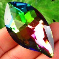 48x27x15mm Faceted Rainbow Titanium Crystal Leaf Pendant Bead SD2019711