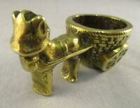 Vintage Collectable Decorative Brass Ornament -  Donkey & Cart - Match Holder