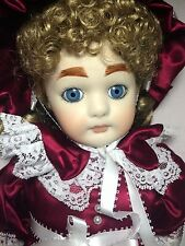 """Francine Cee LE 500 Annette Reproduction 18"""" FULL Porcelain Red Victorian Doll"""