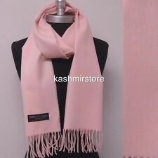 Lady Women New 100% CASHMERE SCARF MADE IN SCOTLAND SOLID Light Pink SUPER SOFT