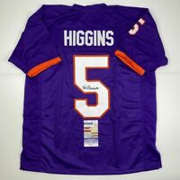 Autographed/Signed TEE HIGGINS Clemson Purple College Football Jersey JSA COA