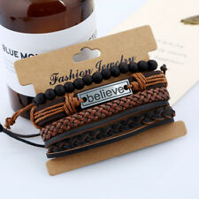 Men's Leather Bracelet Surfer Wide Multi Row Layer Stack Wristband Wrap Stacker