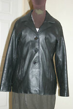 EAGLES Womens BLACK Lambskin REAL LEATHER COAT XL uk18eu44us14 Chest c43in c109c