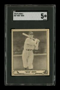 👁🗨1940 Play Ball # 30~~Moe Berg~~SGC 5 EX Boston Red Sox Catcher/WWII Spy👁