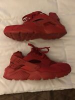 Nike Air Huarache Run Triple Red Running Shoes 654275-600 Youth Size 5Y