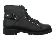 BLACK WARRIOR-03 Women Lace Up Faux Leather Combat Ankle Boot Size 8.5