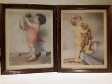 "bessie pease gutmann vintage prints ""Mine"" & baby girl with monkey"
