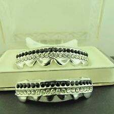 GRILLZ SILVER  CZ TWO ROW BLACK and WH ITE TOP GRILLS L019WK SET OF 2Pcs