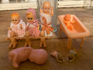 Lot of Vintage Miniature Celluloid Plastic Some Jointed Baby Dolls Japan Fetus