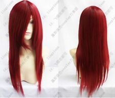 Hot ! Heat Resistant Dark Red Long Straight Cosplay Party Wig SH01