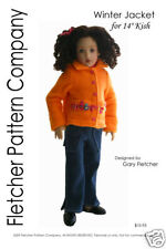 """Winter Jacket Doll Clothes Sewing Pattern for 14"""" Kish Fletcher Pattern Company"""