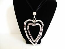 "Big Chunky Silver Double Heart Long 30"" Black Leather Cord Necklace    LaGenLooK"