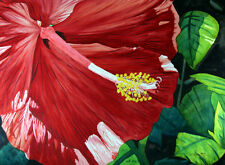 Hibiscus 2, Garden, Red Flower, Original Watercolor Painting, Signed, Wall Art