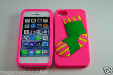 Pink Christmas XMas Stocking Sock 3D - iPhone 5 5s Silicone Gel Full Back Case