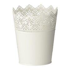 IKEA SKURAR plant pot acciaio bianco floreale grandi dimensioni altezza: 18 cm