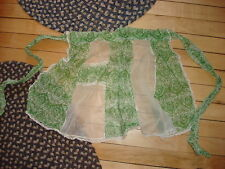 Vintage Half Apron GREEN/WHITE & SHEER PANELS Lace