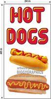 2' X 4' VINYL BANNER  HOT DOGS VERTICAL FULL COLOR GRAPHICS