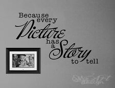 QUOTE VINYL WALL DECAL LETTERING because every picture has a story to tell frame