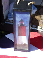 Black wooden wine bottle box with Lighthouse design.