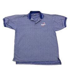 Vintage 90s Dynasty Polo LOS ANGELES DODGERS Waffle Textured Blue Rugby Size L