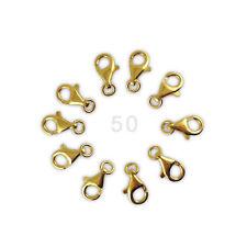 50 goldene Karabiner 13mm Verschlüsse Verschluss 925 Sterlingsilber VERGOLDET