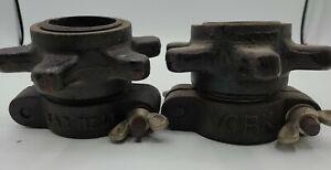 "York Barbell Ship wheel Collars- Vintage Olympic Shipwheel Spin lock Rare 2"" Set"