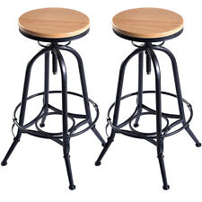 Set of 2 Vintage Bar Stools Industrial Metal Design Wood Top Adjustable Swivel