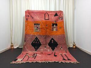 """Handmade Vintage Boujad Moroccan Rug 5'4""""x 8'1"""" Feet Berber Wool Red Orange Rug"""
