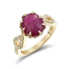 Burma (Myanmar) Star Ruby 5.45 carats set in 14K Yellow Gold Ring