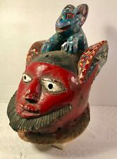 African Nigerian Carved Painted Yoruba Gelede Ceremonial Masquerade Helmet Mask
